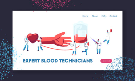 Blood Donation. Doctors and Nurses in Medical Uniform Making Lifeblood Transfusion from Human Hand to Plastic Container in Lab. Website Landing Page, Web Page. Cartoon Flat Vector Illustration, Banner