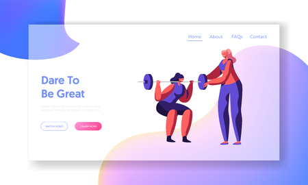 Woman Squatting with Weight in Gym, Coach Help in Training. Girl in Sports Wear Workout, Exercises, Sport Activity Lifestyle. Website Landing Page, Web Page. Cartoon Flat Vector Illustration, Banner