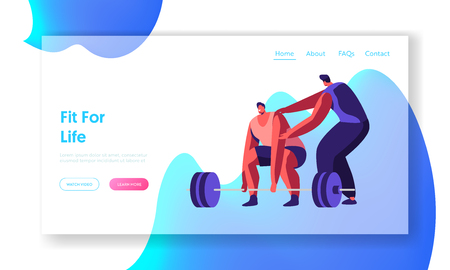 Sportsman Powerlifter Training in Gym with Coach. Male Character in Sportswear Workout with Weight. Exercises, Sport Activity Website Landing Page, Web Page. Cartoon Flat Vector Illustration, Banner