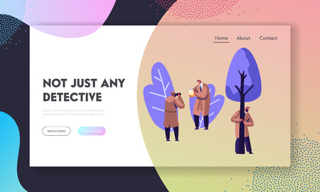 Detective Service Secret Agents in Hats and Coats at Work, Hiding behind Tree, Making Photo, Investigating and Solving Crimes. Website Landing Page, Web Page. Cartoon Flat Vector Illustration, Banner