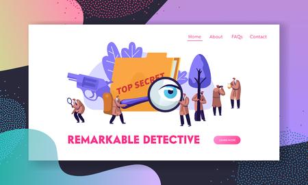 Detektywi policyjni i prywatni detektywi przy pracy badającej i rozwiązującej przestępstwa. Szpiedzy służb wywiadowczych, obserwatorzy. Strona docelowa witryny, strona internetowa. Ilustracja kreskówka płaskie wektor, baner Ilustracje wektorowe