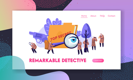 Police Detectives and Private Investigators at Work Investigating and Solving Crimes. Intelligence Service Spies, Watchers. Website Landing Page, Web Page. Cartoon Flat Vector Illustration, Banner Vektorové ilustrace