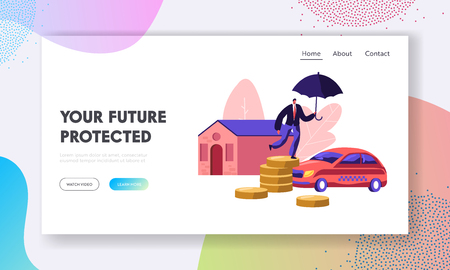 Property Insurance. Home and Car Protection. Man with Umbrella Standing on Coin Pile. Guarantee, Money and Secure in Future. Website Landing Page, Web Page. Cartoon Flat Vector Illustration, Banner