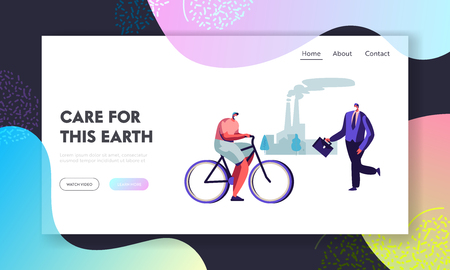 People Live in Polluted City Wearing Protective Face Masks, Riding Bike, Going at Work. Factory Pipes Emitting Industrial Smog Website Landing Page, Web Page. Cartoon Flat Vector Illustration, Banner