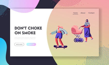 Female Characters Wearing Protective Face Masks. Woman with Baby Stroller, Girl Riding Skateboard. Industrial Air Pollution Website Landing Page, Web Page. Cartoon Flat Vector Illustration, Banner