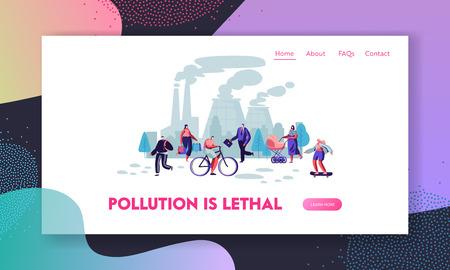 Personas con máscaras protectoras en la calle, tubos de fábrica que emiten humo. Contaminación del aire, smog industrial, página de destino del sitio web de emisión de gases contaminantes, página web. Ilustración de Vector plano de dibujos animados, Banner