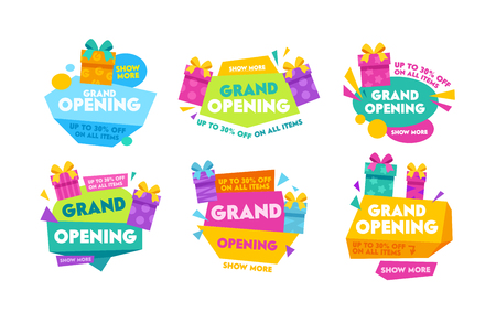 Grand Opening Labels and Badges Set with Colorful Typography, Cartoon Gift Boxes and Geometric Shapes. Templates Collection Design for Promo Posters, Advertising Banners, Ad Flyers Vector Illustration