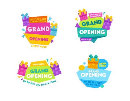 Grand Opening Templates Collection Design for Promo Posters, Advertising Banners, Ad Flyers. Labels and Badges Set with Colorful Typography, Cartoon Gift Boxes and Geometric Shapes Vector Illustration