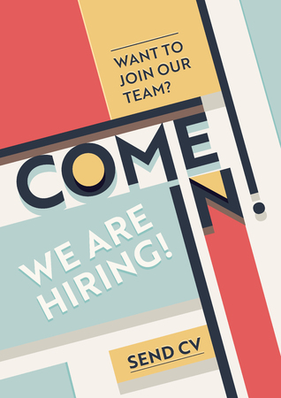 Hiring Recruitment Poster. We Are Hiring Typography on Geometric Retro Colored Shapes Background. Open Vacancy Design Template. Business Recruiting Banner, Flyer, Brochure Cover. Vector Illustration