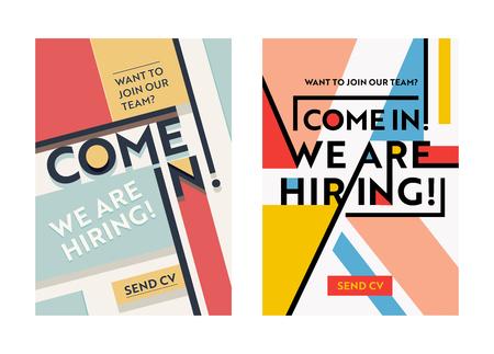 Zakelijke werving banner ontwerpset, huren werving posters, we huren typografie op geometrische retro en moderne gekleurde vormen achtergrond. Flyer, Brochure voorbladsjabloon. vectorillustratie