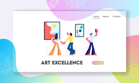 Exhibition Visitors View Modern Abstract Paintings at Contemporary Art Gallery. People Watching Artworks or Exhibits in Museum. Website Landing Page, Web Page. Cartoon Flat Vector Illustration, Banner Illustration