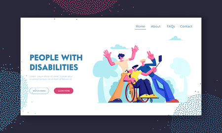 Man with Physical Disorder Sit in Wheelchair with Friends Around, Group of Mates Making Selfie Outdoors. Friendship, Relations, Website Landing Page, Web Page. Cartoon Flat Vector Illustration, Banner