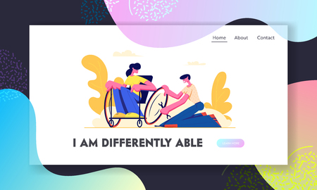 Man Repair Wheel on Wheelchair where Sitting Young Disabled Woman. Love, Family, Human Relations, Disability, Invalid Helping. Website Landing Page, Web Page. Cartoon Flat Vector Illustration, Banner