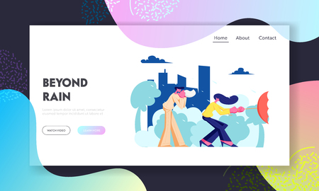 People on Street in Bad Weather with Rain, Man Blow Nose in Handkerchief, Woman Hold Umbrella Turned Inside Out in Strong Wind. Website Landing Page, Web Page. Cartoon Flat Vector Illustration, Banner  イラスト・ベクター素材