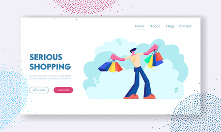 Happy Man with Shopping Bags. Buyer Have Fun Doing Shopping. Seasonal Sale, Discount, Shopaholic with Purchases in Paper Packs. Website Landing Page, Web Page. Cartoon Flat Vector Illustration, Banner