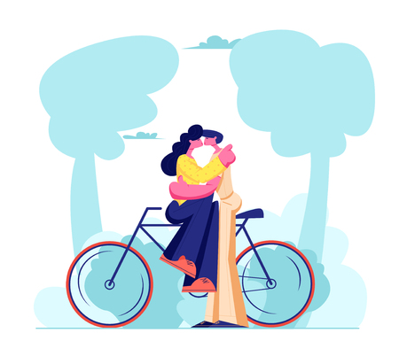 Young Loving Couple Sitting on Bicycle and Kissing Outdoors. Romantic Human Relations, Love Story, Newlywed Family in Honeymoon Traveling Adventure, Passion, Emotions. Cartoon Flat Vector Illustration