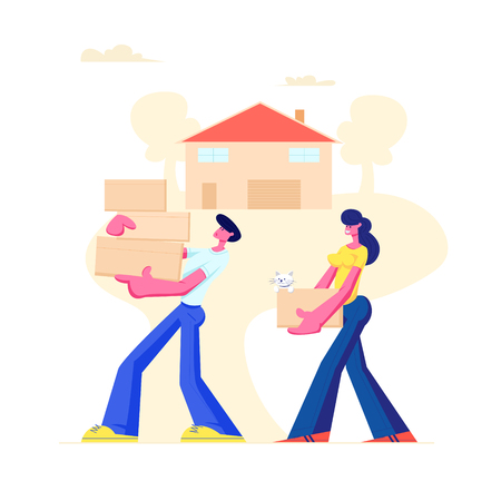 Happy Family Moving into New House. Husband and Wife Carry Cardboard Boxes in Hands, Bringing Things and Pet at Home. People Buying Real Estate Apartments for Living Cartoon Flat Vector Illustration Stock Vector - 128442034