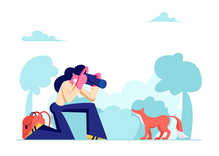Young Photographer Woman Making Picture of Cute Fox in Forest, Female Character Having Rest on Nature, Outdoor Activity, Girl Relaxing in Countryside, Leisure, Hobby. Cartoon Flat Vector Illustration Çizim