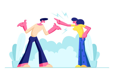 Young Family Quarrel and Swear Outdoors. Aggressive Man and Woman Yell on each other. Scandal between Husband and Wife. Love, Human Relations, Angry People Fighting. Cartoon Flat Vector Illustration Çizim