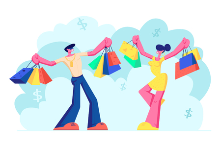Cheerful People Holding Shopping Bags with Purchases. Smiling Woman and Man Family Characters with Paper Packings Having Pleasure of Buy. Seasonal Sale at Store, Shop. Cartoon Flat Vector Illustration