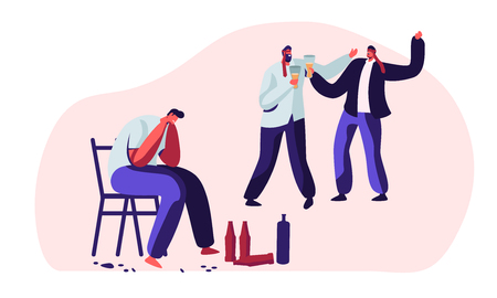 Drunk Men, Alcohol Addiction People. Male Characters Having Pernicious Habits Addictions and Substance Abuse, Suffering, Crying, Hugging in Funny Mood, Alcoholism. Cartoon Flat Vector Illustration Иллюстрация