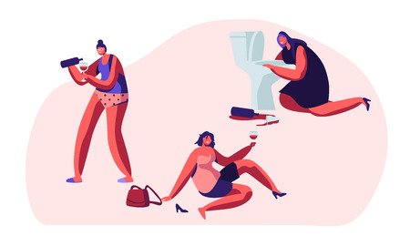 Alcohol Addiction People. Drunken Tipsy Female Characters Having Pernicious Habits Addictions and Substance Abuse, Drunk Women Lying on Ground, Puking in Toilet. Cartoon Flat Vector Illustration