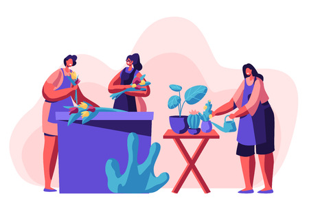Flower Shop Stuff Working. Girls Making Flower Bouquets, Caring of Plants in Pots, Creating Design Compositions for Customers or Clients. Florist Profession, Job. Cartoon Flat Vector Illustration Illustration