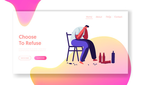 Unhappy Alcoholic Male Character Sitting on Chair with Empty Bottles and Crying. Drunk Man, Alcohol Addiction, Pernicious Habit Website Landing Page, Web Page. Cartoon Flat Vector Illustration, Banner