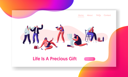 Alcohol Addiction People. Male and Female Characters Have Pernicious Habits Addictions and Substance Abuse, Drunk Men and Women Website Landing Page, Web Page. Cartoon Flat Vector Illustration, Banner