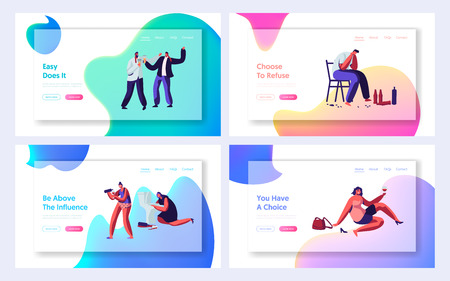 Drunk Men and Women Website Landing Page Set, Alcohol Addiction People. Male and Female Characters Have Pernicious Habits and Substance Abuse, Web Page. Cartoon Flat Vector Illustration, Banner