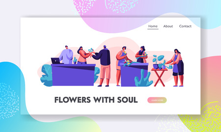 Flower Shop Stuff Caring of Plants in Pots, Making Design Compositions and Flower Bouquets for Customer. Florist Profession, Job Website Landing Page Web Page. Cartoon Flat Vector Illustration, Banner 向量圖像