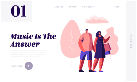 Young Loving Couple Walking in City Park Holding Hands, Woman Carry Shopping Bags. Summertime Leisure, Dating, Musical Concert Website Landing Page, Web Page. Cartoon Flat Vector Illustration, Banner