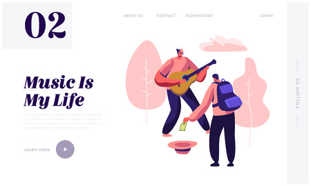 Hipster Musician Perform Show on Street Playing Guitar for Pedestrians in Park, Passerby Put Money in Hat, Musical Performance. Website Landing Page, Web Page. Cartoon Flat Vector Illustration, Banner Illustration