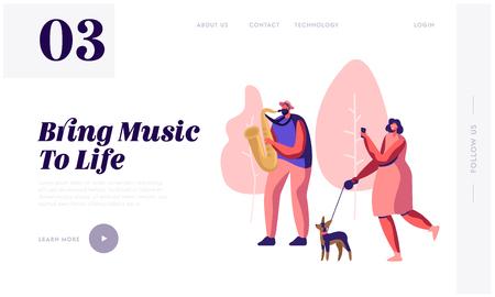 Saxophoniste jouant de la musique dans un parc, femme avec un chien regardant un concert et photographiant une performance musicale. Spectacle de rue en plein air. Page de destination du site Web, page Web. Illustration vectorielle plane de dessin animé, bannière Vecteurs