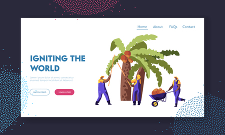 Palm Oil Producing. Workers Collect Coconuts from Palm Tree, Seasonal Work, Laborers Taking Crop on African or Asian Plantation Website Landing Page, Web Page. Cartoon Flat Vector Illustration, Banner