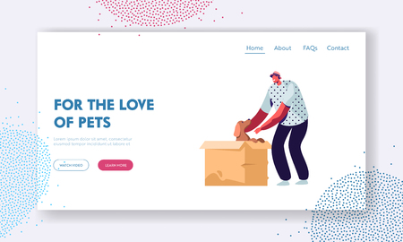 Love and Relations with Animals, People and Pets. Happy Cheerful Man Find Little Puppy in Cardboard Box, Taking him on Hands, Website Landing Page, Web Page. Cartoon Flat Vector Illustration, Banner Illustration