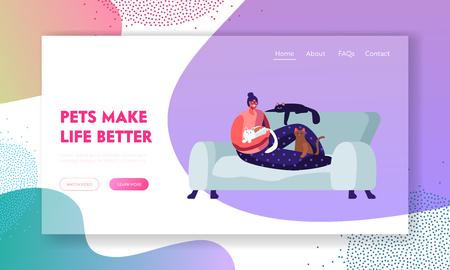 Woman Sitting on Sofa at Home with Many Cats around. Love to Animals, Female Character Spend Time with Pets, Leisure, Relations Website Landing Page, Web Page. Cartoon Flat Vector Illustration, Banner Иллюстрация