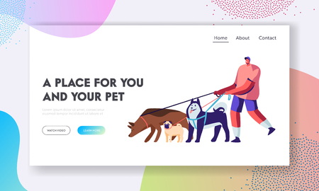 Man Spend Time with Pet Outdoors. Male Character Walking with Dogs Team, Relax, Leisure, Communication, Love, Care of Animals. Website Landing Page, Web Page. Cartoon Flat Vector Illustration, Banner