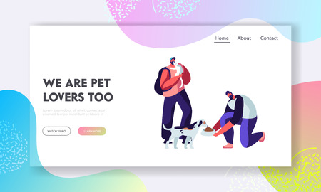 Happy People with Cats and Dogs, Feeding and Playing. Male Characters Spend Time with Domestic Animals, Caring of them. Friendship, Lifestyle, Leisure with Pet Friends Cartoon Flat Vector Illustration Фото со стока - 124052182
