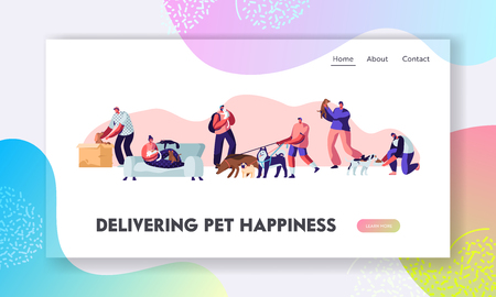 People and Pets at Home and Outdoors. Characters Walking with Dogs, Relaxing with Cats, Communication Love, Care of Animals. Website Landing Page, Web Page. Cartoon Flat Vector Illustration, Banner