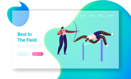 Sportsmen during Competition or Games. Professional Sports Activity, Training. High Jump, over Barrier, Bow Shooting. Website Landing Page, Web Page. Cartoon Flat Vector Illustration, Banner Banque d'images - 124052223