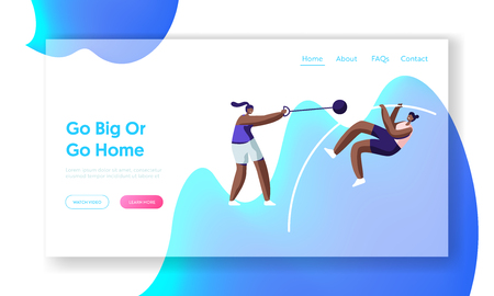 Professional Sport Activity. High Jumping with Pole, Core Shot, Games Competition, Athletics Training Healthy Lifestyle Website Landing Page, Web Page. Cartoon Flat Vector Illustration, Banner Illustration