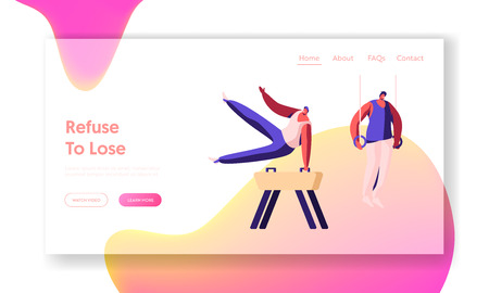 Athletics Male Characters Training or Compete on Games Exercising on Vaulting Horse, and Sports Rings, Gymnastics Website Landing Page, Web Page. Cartoon Flat Vector Illustration, Banner