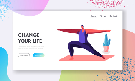 Smiling Man Doing Lunge with Hands by Sides, Warrior Pose, Healthy Life, Sport Class in Gym. Sportsman Practicing Yoga Asana Website Landing Page, Web Page. Cartoon Flat Vector Illustration, Banner