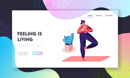 Smiling Woman Doing Yoga Asana Standing on One Foot with Hands Joint on Chest in Tree Pose. Healthy Lifestyle, Sport. Lesson Website Landing Page, Web Page. Cartoon Flat Vector Illustration, Banner