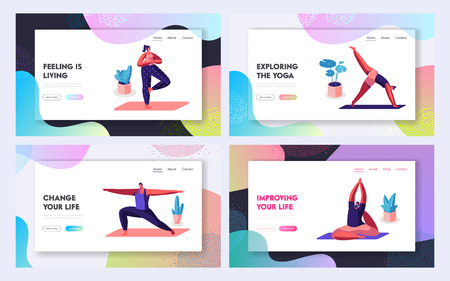 Sports Activity, Exercise, Characters Doing Yoga Practice in Different Poses. Fitness, Stretching, Healthy Lifestyle, Leisure. Website Landing Page, Web Page. Cartoon Flat Vector Illustration, Banner