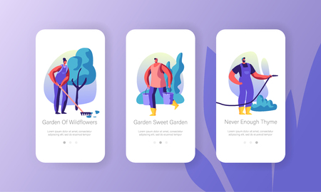 Gardening People Concept for Website or Web Page, Characters Growing and Caring of Plants in Garden, Summertime Seasonal Hobby Mobile App Page Onboard Screen Set Cartoon Flat Vector Illustration  イラスト・ベクター素材