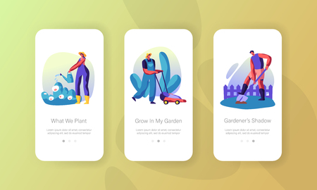 Gardener Growing, Caring of Plants in Garden Concept for Website or Web Page, People Planting, Watering, Digging Soil, Mowing Lawn Mobile App Page Onboard Screen Set Cartoon Flat Vector Illustration