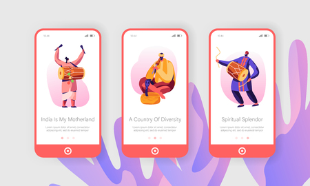 Indian Musicians Performing on Street Play Drums Instruments, Yogi Playing on Pipe for Cobra Snake Mobile App Page Onboard Screen Set Concept for Website or Web Page, Cartoon Flat Vector Illustration