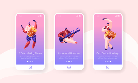 Indian Musicians in Traditional Dressing Perform with Drums, Yogi Playing on Pipe for Cobra Snake Mobile App Page Onboard Screen Set Concept for Website or Web Page, Cartoon Flat Vector Illustration